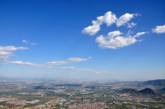 Blue sky white cloud. Overlook the city Royalty Free Stock Image