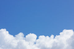 Blue sky with white cloud . Stock Photo