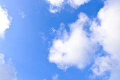 Blue sky, white cloud, white back ground. Beautiful blue sky clouds in the afternoon in thailand Stock Photography