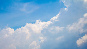 The blue sky with white cloud be overcast. The blue sky with white cloud will be overcast Royalty Free Stock Photo