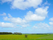 Blue sky with white cloud. Farm at Great Ocean Road , country side of Melbourne , Australia Stock Photo