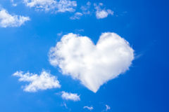 Blue sky with a white cloud in the form of heart Royalty Free Stock Photos