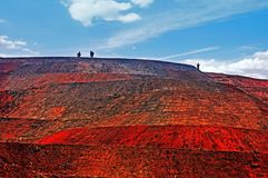 Blue sky,white cloud and red soil Stock Images