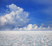 Blue sky white cloud and sand desert Royalty Free Stock Images