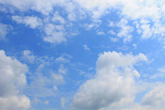 Blue sky. White clouds in the blue sky stock images