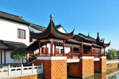 Blue sky and white clouds, ancient Chinese architecture、Shouzhou.China Royalty Free Stock Photo