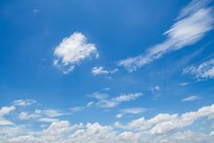 Blue sky with white clouds background. Beautiful, nature, beauty, color, summer, pattern, light, bright, day, environment, high, weather, scenic, air, heaven stock photos