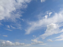 Blue sky, white clouds background. Blue sky with white cirrus and cumulus clouds Royalty Free Stock Photography