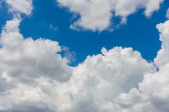 Blue sky with white clouds background stock images