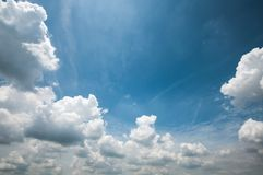Blue sky with white clouds background. A horizontal shot of bright blue sky with puffy white clouds Stock Photography