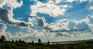 Blue sky white clouds background timelapse. Beautiful weather at cloudy heaven. Beauty of bright color, light in summer. Nature. Abstract fluffy, puffy stock footage