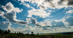 Blue sky white clouds background timelapse. Beautiful weather at cloudy heaven. Beauty of bright color, light in summer. Nature. Abstract fluffy, puffy stock video footage