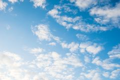 Blue sky with white clouds. Beautiful sky background. stock image