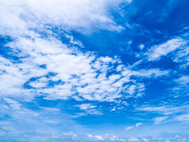 Blue sky with white clouds beautiful clear summer day. Natural b royalty free stock image