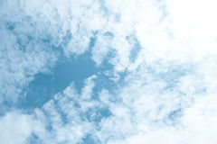 Blue sky and white clouds; beauty bright clear day Royalty Free Stock Image