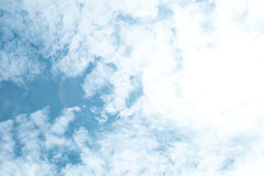 Blue sky and white clouds; beauty bright clear day Royalty Free Stock Photography