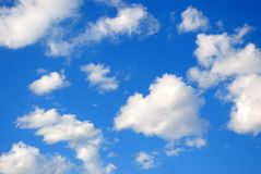 Blue sky with white clouds. Close-up Royalty Free Stock Photos