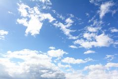 The blue sky and white clouds royalty free stock photos