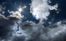 Blue sky with white clouds. Sunny landscape Royalty Free Stock Image