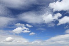 Blue sky and white clouds. Blue sky and white fluffy clouds. Idyllic background abstract royalty free stock image