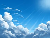 Blue sky with white clouds in sunlight. Blue sky with white clouds at the bottom picture. Art background with sunlight Royalty Free Stock Images