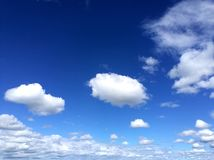 Blue Sky and White Clouds. The clear blue sky with white clouds stock photo