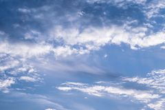 Blue sky with white clouds. Cloudy sky background. Space texture. Light background. Nature bright background. Natural cloudscape. royalty free stock photography