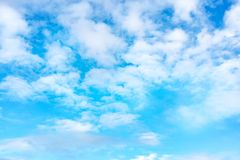 Blue sky with white clouds. Daytime and good weather stock photography
