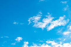 Blue sky with white clouds. Daytime and good weather royalty free stock photo