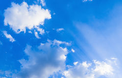 Blue sky with white clouds. White fluffy clouds in the blue sky Stock Photography