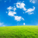 Blue sky and white clouds and grass Stock Images