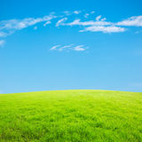 Blue sky and white clouds and grass Royalty Free Stock Photo