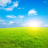 Blue sky and white clouds and grass Stock Photo