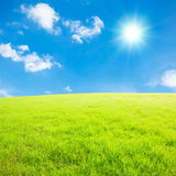 Blue sky and white clouds and grass Stock Photography