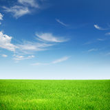 Blue sky white clouds on green grass Royalty Free Stock Photography