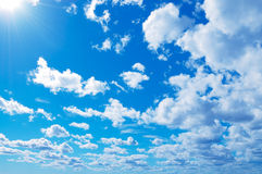 Blue sky and white clouds in Helsinki, Finland.  stock image