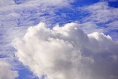 Blue sky with white clouds Looking at the sky. And beautiful stock image