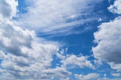 Blue sky with white clouds. Blue sky with many white clouds during the daytime Stock Images