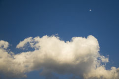 Blue sky white clouds the moon Stock Photos