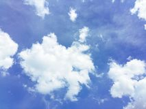 Blue sky and white clouds. For natural and abstract backgrounds with daylight hours Royalty Free Stock Photo