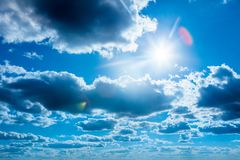 Blue sky with white clouds in sanny day. Background. Blue sky with white clouds in sanny day. Sky background royalty free stock photography