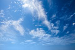Blue sky with white clouds in sanny day. Background. Blue sky with white clouds in sanny day. Sky background royalty free stock photo