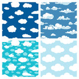 Blue sky and white clouds seamless patterns set Stock Photography