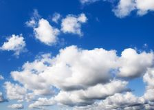 Blue sky. With white clouds in spring Royalty Free Stock Image