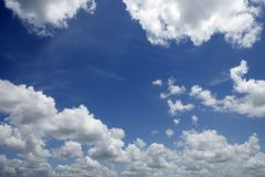 Blue sky white clouds in a summer clean day Royalty Free Stock Photography