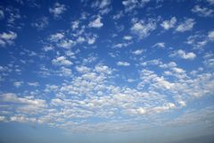 Blue sky white clouds in a summer clean day. Texture Royalty Free Stock Image