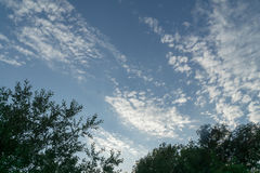 Blue sky white clouds with the sun Royalty Free Stock Photos