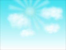 Blue sky, white clouds and sun Royalty Free Stock Photo