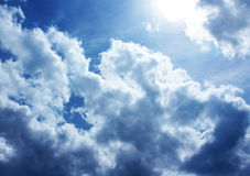 Blue sky with white clouds and sunrises Stock Images