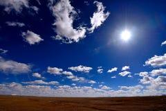 The blue sky white clouds Tibetan snow mountain Stock Photography